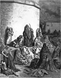 Gustave Dore, The People Mourning Over the Ruins of Jerusalem (woodcutting, 1866)