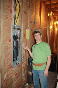 One of Gabe's tasks was to sort the bird's nest of electrical work into a functioning breaker panel.  Mission accomplished!