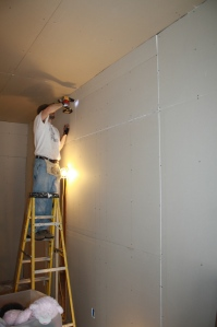 "Brian finishes the drywall.  As we seek to ""CHUP it up"" a bit, note that this piece is about the size of a 3x5 card..."