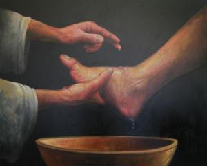 Jesus Washing the Feet, by Calvin Carter. 21st century. Used by permission of the artist, www.calvincarterart.com
