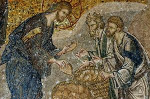 Multiplication of the Loaves and Fishes, Mosaic from the St. Savior Church in Chora, Istanbul (14th Century)