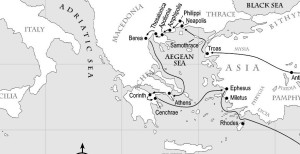 Paul's journey from Troas (in Turkey) across the Aegean to Macedonia and Greece.