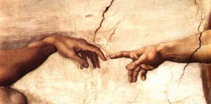 """Detail from Michelangelo's """"The Creation of Adam"""" on the Sistine Chapel in Rome"""