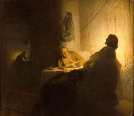"""Supper at Emmaus"" (Rembrandt, 1628)"