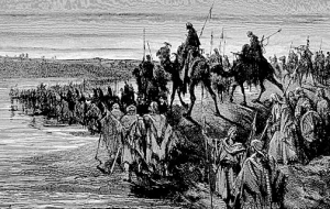 """The Children of Israel Crossing Jordan"" Woodcut by Gustav Dore (d. 1893)"