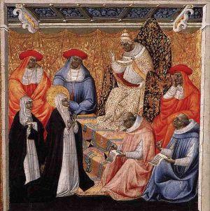 St Catherine before the Pope at Avignon, Giovanni di Paolo, 1460