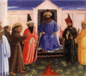 The Trial by Fire of St. Francis before the Sultan, Fra Angelico, 1429