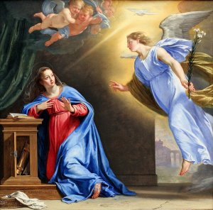 Philippe de Champaigne The Annunciation (1644)  Note the connection between the dove (Spirit of God) and Mary's ear - the WORD (logos) of God becoming enfleshed.  See also the open Bible in front of Mary.