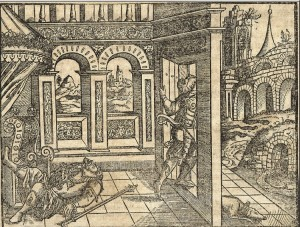 An anonymous woodcut from Martin Luther's Bible depicts Ehud's escape.