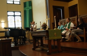 Sunday worship featured an original song by my friend Adam.
