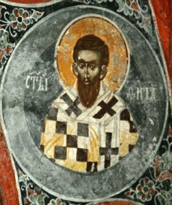 Saint Titus, as presented in a 14th-century painting in St. Nicholas Church, Kosovo
