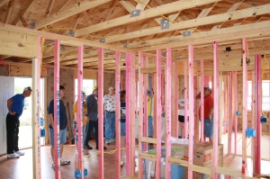 This is the interior of the house as it was left by the building crew from the Port Lavaca church.