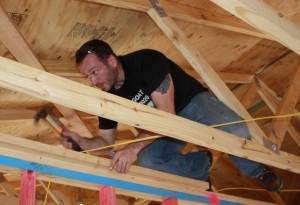 Sean is taking care of business in the rafters.