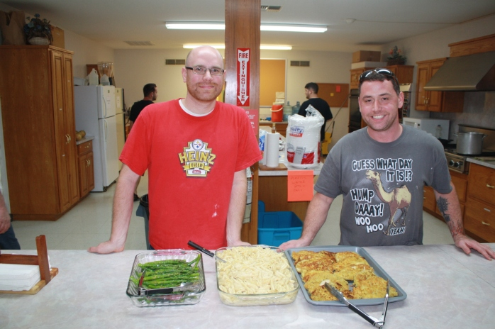 "Napoleon Bonaparte said, ""An army marches on its stomach."" Mike and Joe have taken great delight in keeping us moving and motivated, today with chicken cutlets, asparagus, and macaroni and cheese.  To. Die. For."