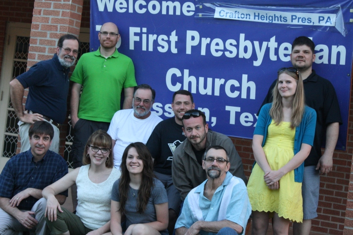 "The group in our ""home"" church of First Presbyterian, Mission TX"