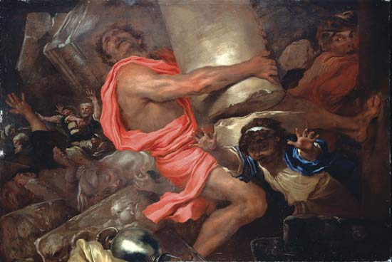 Samson destroying the temple of the Philistines