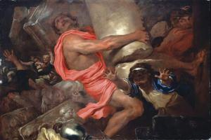 Samson Destroying the Temple of the Philistines, Giovanni Benedetto Castiglione (17th C.)