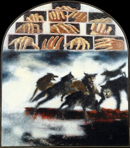 The Concubine of Gibeah 3, by Janet Schafner (1998). Used by permission. For more, including a fascinating description of the wolf as a symbol of the tribe of Benjamin, visit http://janetshafner.com/biblical-visions/The+Concubine+of+Gibeah+3.jpg.php