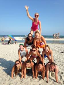 The girls show us how to make a real beach pyramid!