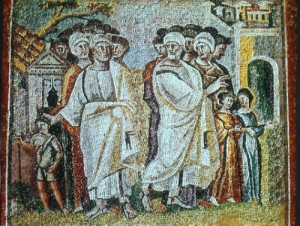 The Parting of Lot and Abraham.  Mosaic from Santa Maria Maggiore in Rome, c. 430 AD.