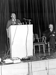 Dr. King speaking at the Grosse Pointe High School
