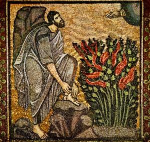 Moses and the Burning Bush Byzantine mosaic at St. Catherine's Monastery, Sinai.