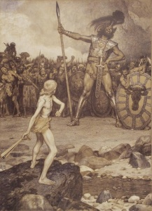 David and Goliath, lithograph by Osmar Schindler (c. 1888)