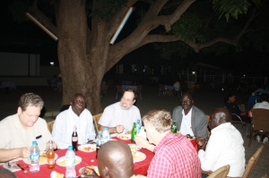 Under the mango tree at the Juba Bridge Hotel.  To my left is James Paar Tap, SSPEC Moderator, and to my right is Madut Tong, SSPEC Deputy General Secretary.
