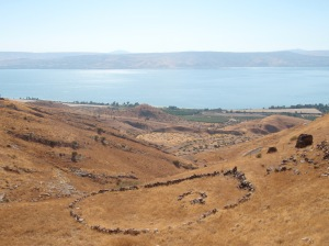 "The Sea of Galilee as seen from the cliffs along ""the other side""."