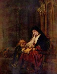 Timothy and His Grandmother, Rembrandt (1648)