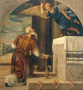 The Archangel Gabriel Announces the Birth of John the Baptist  Bonifazio Veronese, (c. 1550)