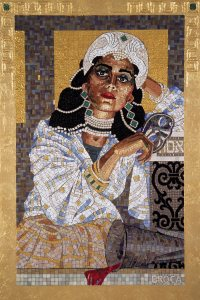 Queen Esther Revealing Her True Identity,  from a mosaic series by contemporary artist Lilian Broca.  Used by permission.  http://www.lilianbroca.com/queen-esther-mosaics