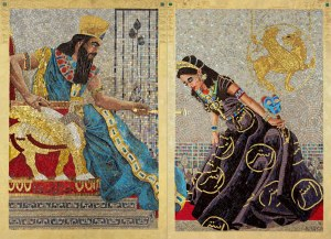 Queen Esther Seeking Permission to Speak, from a mosaic series by contemporary artist Lilian Broca.  Used by permission.  http://www.lilianbroca.com/queen-esther-mosaics