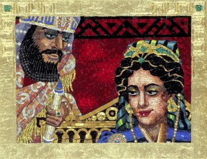 Surreptitious Dialogue, from a mosaic series by contemporary artist  Lilian Broca. Used by permission. http://www.lilianbroca.com/queen-esther-mosaics