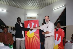 Presenting the gift from Pittsburgh Presbytery to our partners.  Here I am pictured with Pastor Angelo from South Sudan.