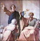 Ss. Aquila and Priscilla with St. Paul, fresco in the Basilica of St. Paul in Rome Domenico Tojetti (1807–1892)