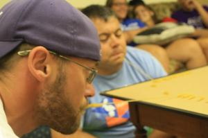 Tim had a whole week of games for the group.  Here he is getting a taste of his own medicine.