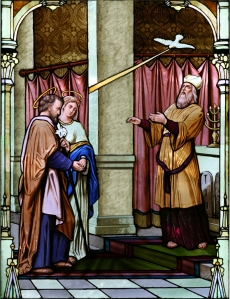 Marriage of St. Mary and Joseph, stained glass window, St. Joseph Catholic Church, Bay City, MI