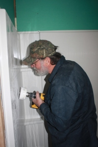 Bob continuing with the bathroom installation.
