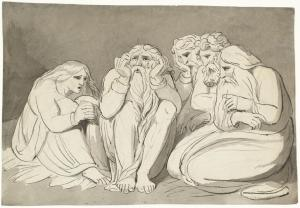 Job, his Wife and his Friends: The Complaint of Job, William Blake, 1785.