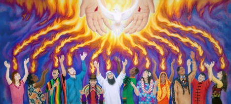 Pentecost: True Spiritual Unity and Fellowship in The Holy Spirit, by Rebecca Brogan (used by permission, more at http://jtbarts.com)