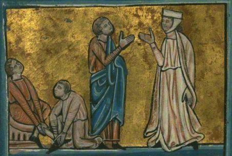 Boaz' Kinsman Renounces His Rights Over Ruth, by William de Brailes (1230 - 1260)