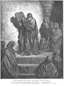 Ezra Reads the Law to the People, by Gustave Doré (1832-1883)