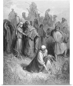 Boaz and Ruth, woodcutting by Gustave Dore (1900)