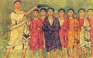 Samuel and the Sons of Jesse, Wall painting in the synagogue at Duro Europos, Syria