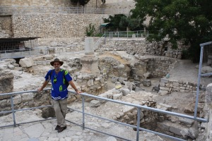 "Here I am standing in the ruins of the ""Pool of Bethesda"" in Jerusalem - note that everything is made of stone!"