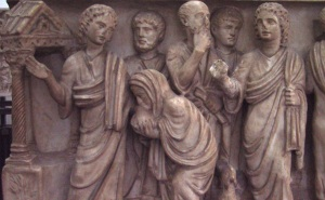 "Jesus Heals The Woman With a Disabling Spirit, From the so-called ""Two Brothers Sarcophagus"", mid-4th century."