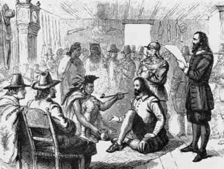 Sketch depicting John Carver and Yellow Feather Oasmeequin [of the Massasoit] smoking a peace pipe commemorating the treaty.