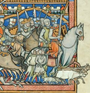 Saul Spares Agag and the Fattest Animals, detail from the Maciejowski Bible (1266)