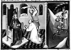 Saul Orders Ahimelech Beheaded While Abiathar Flees to David, Utrecht History Bible (1430)
